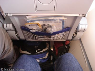Leg room on the A380.  Pretty standard (ie, non-existent for Stu)