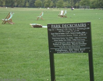 Hyde Park deckchairs can be hired - £1.50 an hour!