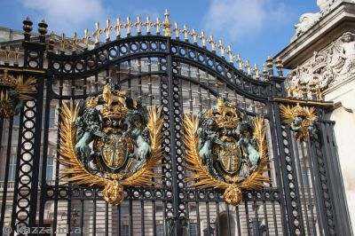 Buckingham Palace gates in sunlight