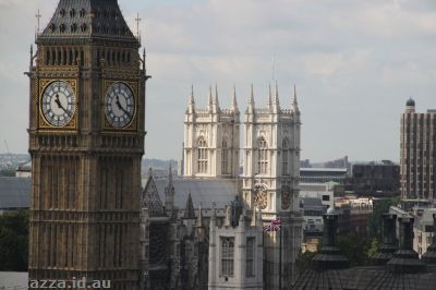 Clock tower and Westminster Abbey