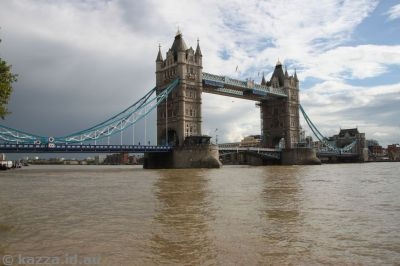 Tower Bridge, with tide as high as I ever saw it