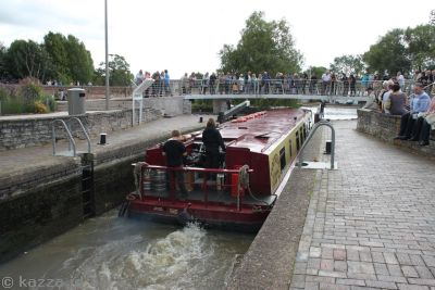 Canal boat in the lock