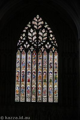 Stained glass windows inside York Minster