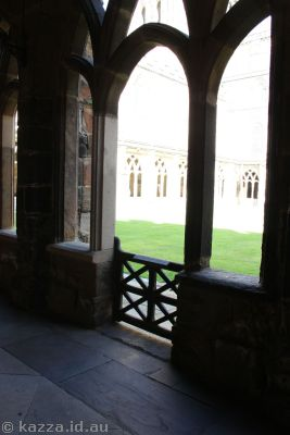 And here's where they walk out into the courtyard