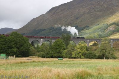Train going over the Glenfinnan viaduct