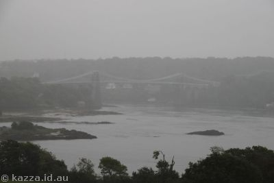 Looking through the rain towards Menai Bridge