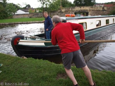 Turning a canal boat