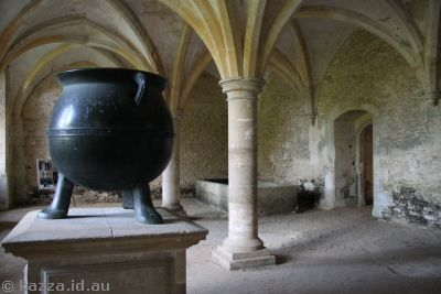 This was in the Warming House.  I don't think it was used in the   movies, but the cauldron looks pretty cool