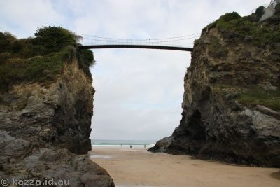 Bridge to the isolated house at Newquay