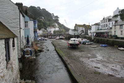 Muddy harbour in Polperro