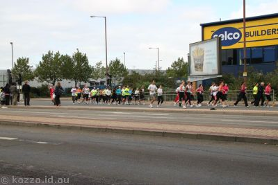 Marathon runners on Woolwich Road, Charlton