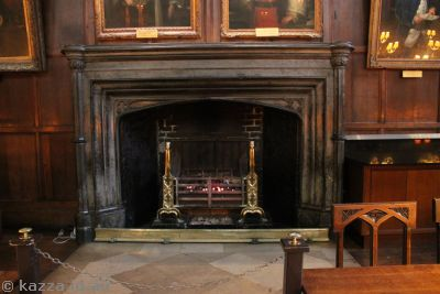 The fireplace with the