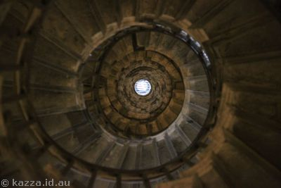 Looking up the stairs of Monument