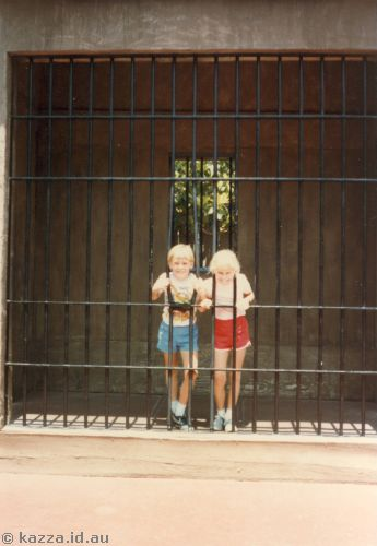 David and me behind bars