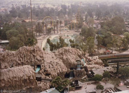 Knott's Berry Farm from Parachute showing Montezooma's Revenge and Log Ride