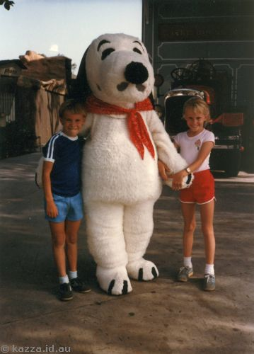David and me with Snoopy at Knott's Berry Farm