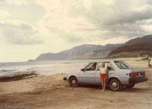 Our hire car on Western Coastline (Datsun Sentra AVC-074)