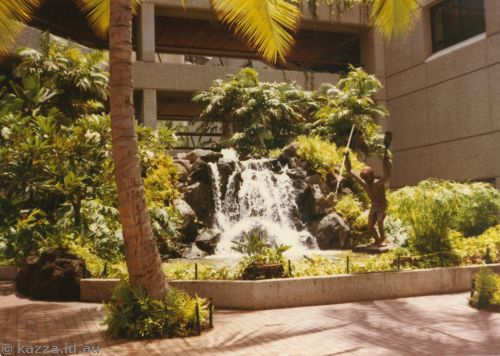 Cascades in shopping plaza at Waikiki Hilton